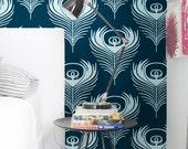 "Peacock Feathers - self adhesive DIY wallpaper, home decor, Peel n Stick 20.9""x8' - G044"