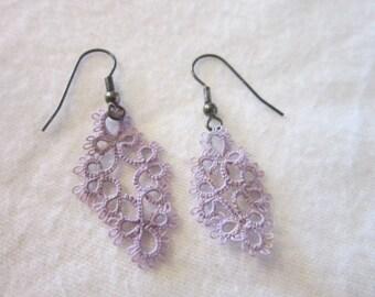Vintage Purple Cloth Crochet Dangle Earrings