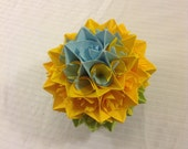 Yellow, Blue, and Green Paper Centerpiece