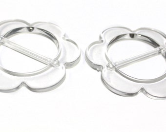 2 PCS Floral Lightweight Transparent Buckles For Belts, Jewelry, Fashion and Embellishments