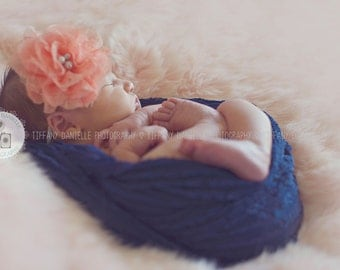 Navy Blue Ruffle baby wrap, swaddle photo prop for newborn to toddler