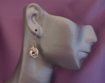 Handmade Chainmaille Sterling Silver Love Knot Earrings