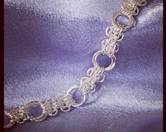 Handmade Sterling Silver Chainmaille Butterfly Weave Bracelet