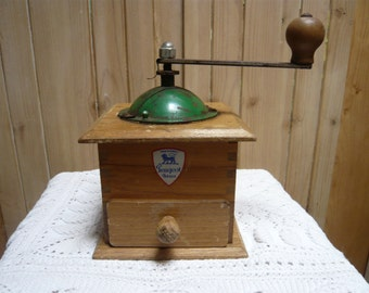 Crank coffee  grinder in wood PEUGEOT France 1920 coffee maker french inspired Home decor Cottage chic rustic decor vintage retro  heritage
