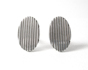 Allan Adler Oval Sterling Silver Cufflinks With Striped Grooves