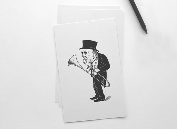 The Trumpeter, Engraving illustration, Black and white, 21 x 14,8 cm Print (A5), music print, retro illustration, vintage gift, wall art