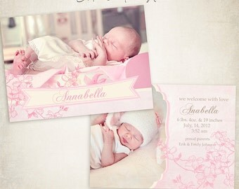 Birth Announcement Template -  7x5 Photo Card - Sweet Baby 003 - ID003, Instant Download