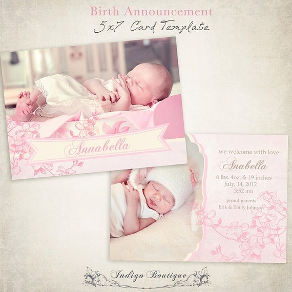 Items similar to birth announcement template 7x5 photo for Free online birth announcements templates