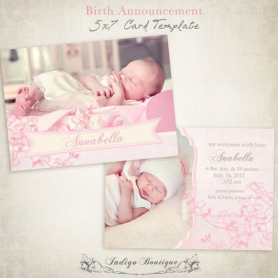 birth announcement template 7x5 photo card by indigoboutique