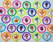 30 ct personalized Bubble Guppies cupcake toppers picks great for birthday party favors decoration