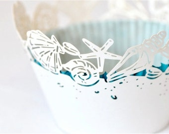 20 Seashell Sea Shell Laser Cut Cupcake Wrappers Wraps - 15 Colors Available