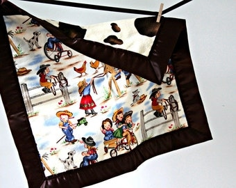 Baby/Toddler Lil Cowgirl Tag-Along Lovie With Pony Minky and Brown Satin Trim