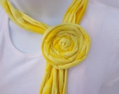 Adjustable Yellow T-shirt Scarf with Rosette on SALE
