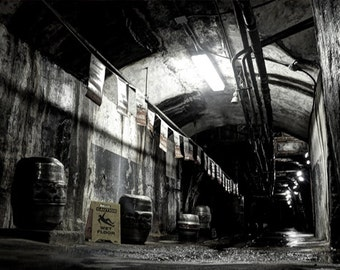 Brewery Cavern, HDR photograph, black, white, and yellow, 8 x 10 fine photography print, Yuengling's Cavern
