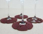 CLOSING SALE Wine Glass Coasters set of 4 Plum