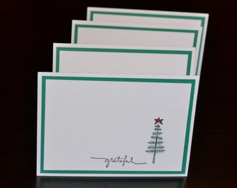 Christmas Thank You Cards (Set of 8), Holiday Thank You Cards in Red and Green