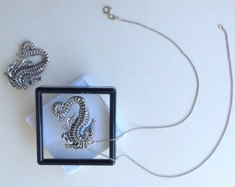 Seahorse Necklace in Sterling Silver, Seahorse Jewelry, Birthstone Jewelry