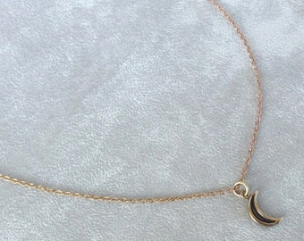 Enchanting Moon Necklace in Bronze, Moon Jewelry, Crescent Moon Necklace, Gift For Her.