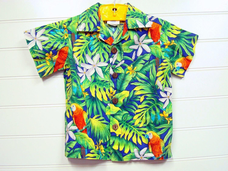 Vintage Toddler Boy Hawaiian Shirt With A Traditional Hawaiian