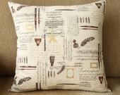 ON SALE: Handmade Parisian Script Cotton Cushion Pillow With Zip Closure In Cream and Chocolate