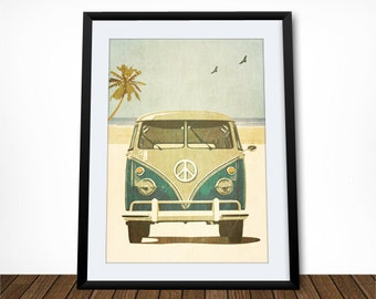 Retro Poster, Car Wall Art, Seaside Art, Coastal Art, Beach Wall Art, Travel Poster, Leaving Gift, Housewarming Gift, Gift for Traveller