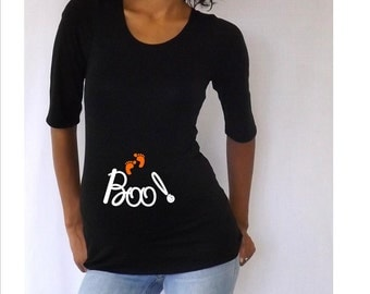 "Maternity Halloween shirt "" Boo"" , cute maternity costume- pregnancy clothes"