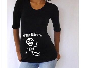 "Maternity Halloween shirt "" Happy Halloween""  with Cute batman baby skeleton"