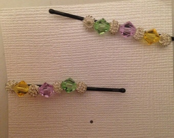 Green, Pink, Yellow and Silver Beaded Bobbie Pins, Set of 2