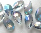 5 Teardrop Chandelier Crystals Iridescent Lavender Grey Shabby Cottage Chic 38mm Gray Chandelier Prism Crystals