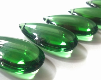 5 Green Smooth Teardrops Chandelier Crystals Almond NO Facets 38mm