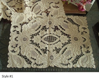 Diving Vintage Handmade Needlelace Cutwork Embroider Pieces, Dining Pads - Heavy Work, Collectables