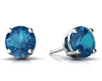 London Blue Topaz Round Stud Earrings .925 Sterling Silver Rhodium Finish White Gold Quality