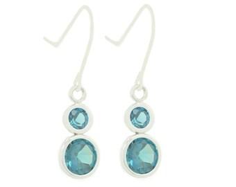 2.5 Carat London Blue Topaz Bezel Dangle Earrings .925 Sterling Silver Rhodium Finish