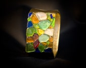 Square Multicolor Sea Glass Bracelet