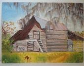 Primitive Barn Painting / Louisiana Barn - Folk Painting