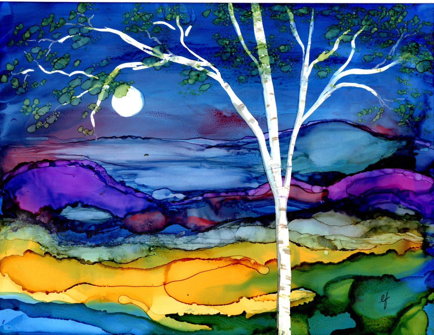 Print Of Alcohol Ink Painting Birch Tree Landscape 5x7