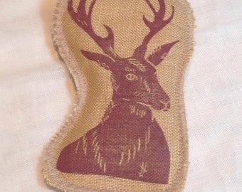 Hand printed Stag linen brooch, badge