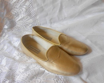 60s 70s Vintage Daniel Green Slippers  Metallic Gold Slippers Shoes Loafers7 M