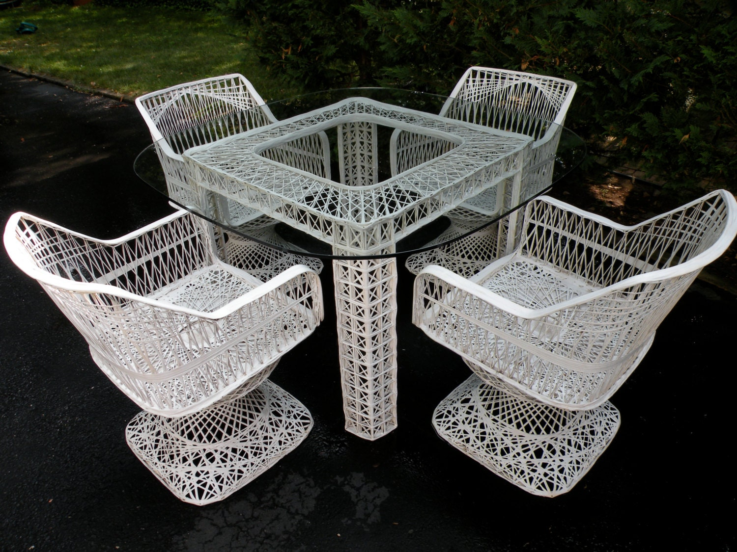 Rare Russell Woodard Square Table And Swivel Chairs Patio Set