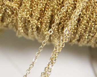 6 meters of O shape brass chain 2mmx3mm-9904-18k gold