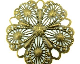 12 pcs of filigree pendant charm 50mm-1592-antique bronze