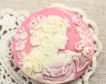 6 pcs of resin cameo 45mm round -RC0423-pink