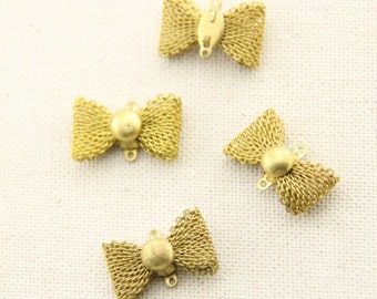 12 pcs of brass filigree bow charm two loop connectore-22x17mm-1923