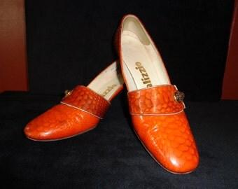 1970's Palizzio Burnt Orange Faux Reptile Shoes