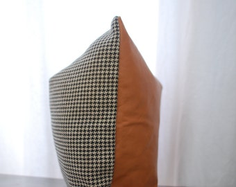 16x16 Menswear Collection Black and White Houndstooth Pillow Cover with Leather Back