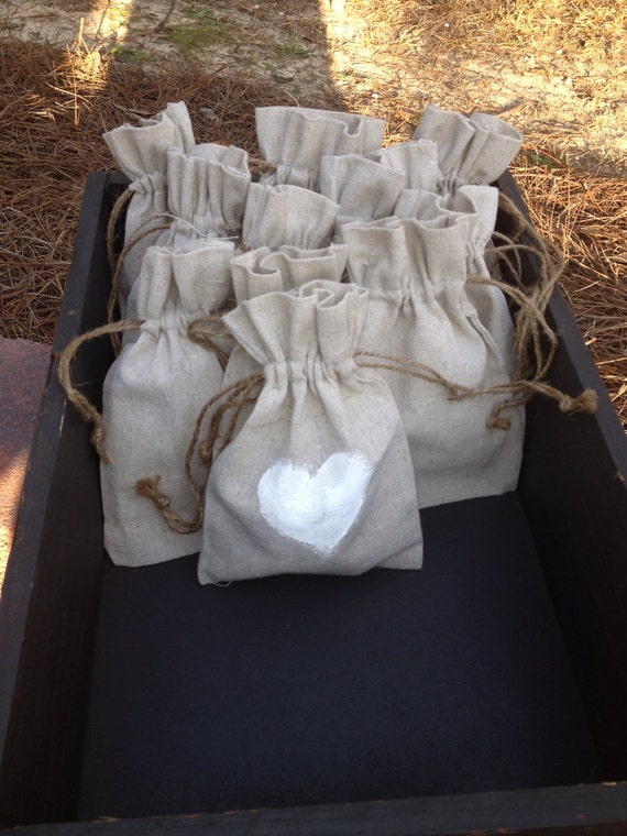 Rustic Wedding Favor Drawstring Linen Burlap Bags (Set of 25)
