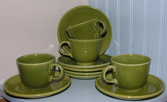 HLC Vintage Fiesta Ironstone teacups and saucers turf green 1969 - 1972