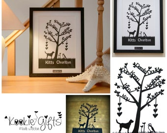 Family Tree Paper Cut with Luxury Hand Made Frame