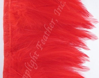 Rooster hackle trim, Red on bias tape, per yard