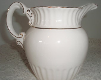White Ceramic Pitcher Trimmed in gold  Traditional style water pitcher  Vintage collectible Beverage serving pitcher